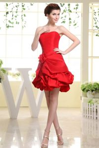 Hand Made Flower Decorate For Red Prom Dress With Pick-ups
