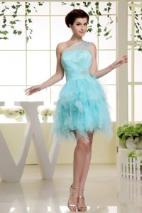 Asymmetrical One Shoulder Prom Dress in Baby Blue With Ruffles