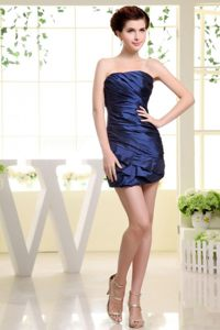 Magnificent Dark Blue Strapless Prom Evening Dress with Ruches