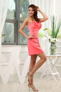 A-Line Watermelon Mini-length Prom Homecoming Dress in Archbold