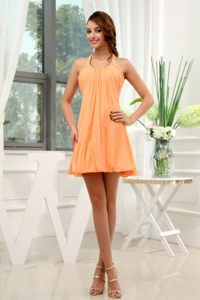 Halter Mini Orange Homecoming Prom Dress Designed for A-Line