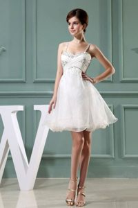 Beaded Decorated Straps A-Line White Prom Dress with Mini-length
