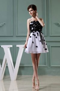 Black Appliques for Straps A-Line Mini Prom Cocktail Dress in White