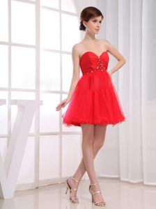Beading Sweetheart Tulle Red Prom Dress with Mini-length and A-Line