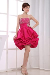 Beading Mini-length A-Line Strapless Ruffles Prom Dress in Hot Pink