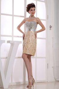 Paillette Sweetheart Prom Dress in Gold and Silver to Knee-length