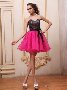 Hot Pink Mini Prom Cocktail Dress With Sequin and Black Bowknot