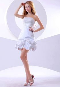 White Prom Cocktail Dress Beaded Ruffle with Big Bowknot Back