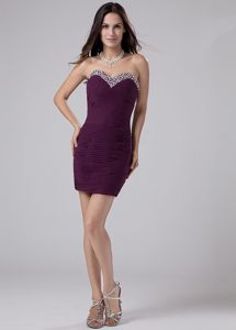 Ruching Beading Sweetheart Mini-length Chiffon Prom Dress in Purple