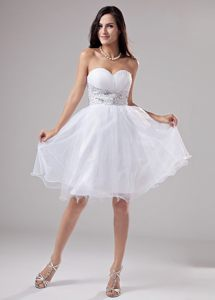White Ruching Sweetheart Beaded Waist A-Line Prom Dress in Organza