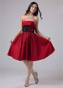 Multi-color Hand Flowers Taffeta Knee-length A-Line Prom Dress in 2013