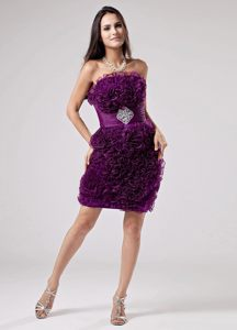 Fashionable Strapless Prom Party Dress Ruffles Organza in Purple