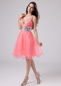 Paillette Waistband V-neck Straps A-Line Prom Dress in Watermelon