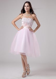 Pink A-Line Strapless Tulle Tea-length Prom Dress with Lace and Beading