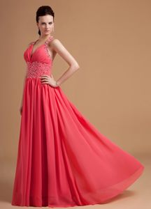 Delish Plunging Beaded Prom Party Dress Halter Top Floor-length