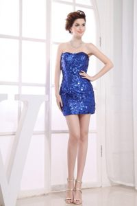 Stunning Mini-length Sequins Prom Gown Sweetheart Neckline