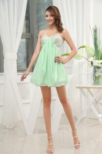 Chiffon Sequins Sweetheart Prom Cocktail Dress in Apple Green
