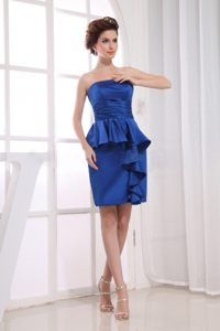 Brand New Style Strapless Royal Blue Prom Dress with Peplums