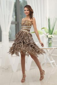 Unique One Shoulder Leopard Prom Evening Dress Ruffled Layers