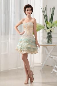 Colorful Sweetheart Short Prom Dress with Multi-tiered Ruffles