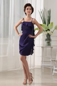 Elegant Purple Chiffon Prom Dress Spaghetti Staps with Ruffles