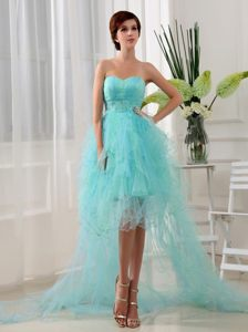 Pretty Organza High-low Sweetheart Beaded Prom Dress in Blue