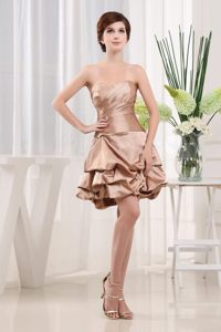 Sweetheart Strapless Champagne Mini-length Modest Prom Cocktail Dress