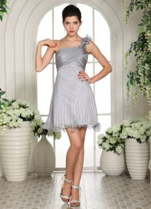 Gray Ruffled One Shoulder Prom Dress With Ruching In East Sussex