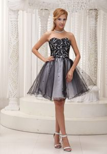 Lace Decorated Top Black and White Prom / Cocktail Dress With Sequins