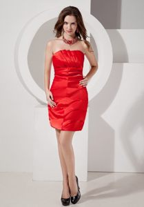 2014 Brand New Taffeta Strapless Ruched Prom Mini Dress in Red