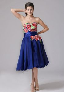 Chiffon Knee-length Sweetheart Appliqued Blue Prom Dresses