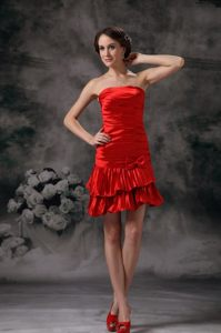 Taffeta Column Strapless Ruched Red Prom Holiday Dress 2014