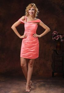 Asymmetrical Neck Ruched Watermelon Red Mini Prom Dress