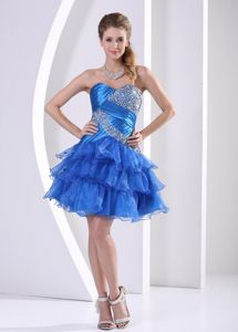 Sweetheart Beaded Prom Dress in Peacock Blue Ruffled Layers