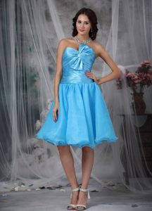 Princess Sweetheart Aqua Blue Prom Homecoming Dress with Pleat and Bow