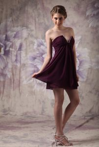 Modest V-neck Chiffon Beading Dark Purple Mini-length Prom Dress
