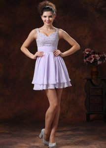Straps Lilac Beaded Mini Prom Graduation Dress in Danville USA