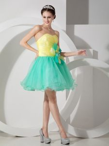 Girly Apple Green And Yellow Mini Prom Party Dress with Flower