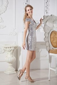 Shimmery V-neck Cap Sleeves Silver Sequin Prom Dress for Girls