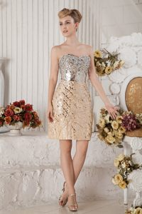 Champagne Column Mini Prom Dress Accent for Sequin and Beading