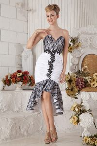 Black and White Mermaid Sweetheart Tea-length Beading Prom Dress