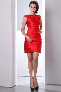 Customized Bateau Neck Red Prom Dress with Rhinestones