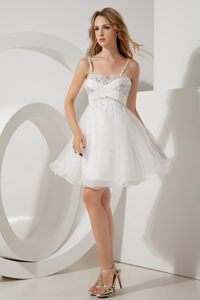 White Straps Beading Prom Homecoming Dress with Mini-length
