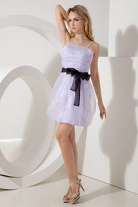 Column Straps Lilac Prom Dress Mini-length Organza with Sashes