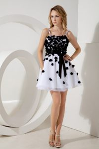 A-line Straps Junior Prom Homecoming Dress Sashes in White and Black