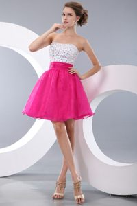 Hot Pink and White A-line Beading Short Prom / Homecoming Dress