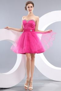 Hot Pink Princess Beading Sweetheart Short Prom / Homecoming Dress