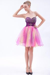 Multi-color A-line Sweetheart Mini-length Beading Prom Cocktail Dress