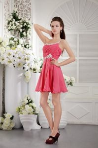 Coral Red One Shoulder Short Appliques and Ruching Prom Dress