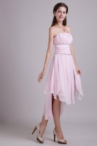 Asymmetrical High-low Beading Prom Homecoming Dress in Baby Pink